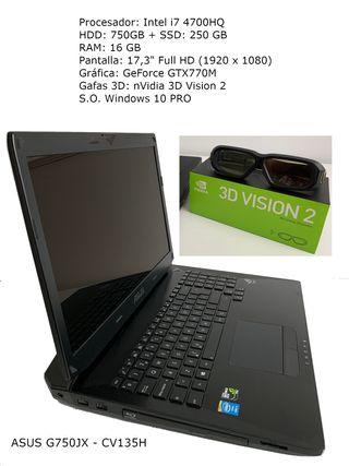 Portátil Asus G750JX + Gafas 3D