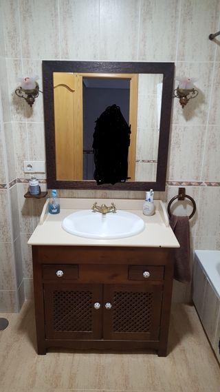 mueble de baño rústico completo