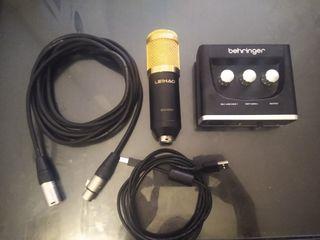 Kit de grabación - interfaz - micrófono - cables
