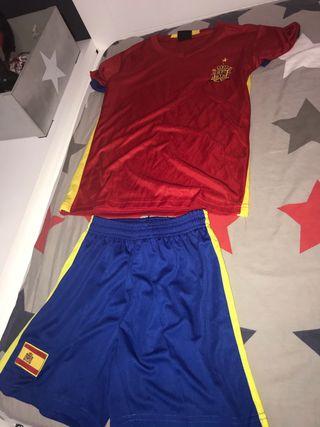 Equipación fútbol España, talla 10