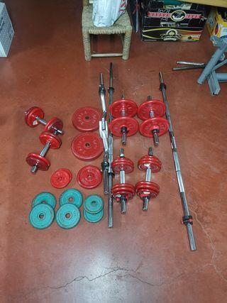 Discos, barras, pesas y material Salter gimnasio
