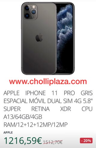 IPHONE 11 PRO GRIS ESPACIAL MÓVIL DUAL SIM
