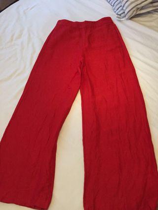 Pantalon palazzo rojo lino