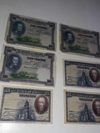 Billetes 100 y 25 pesetas república española