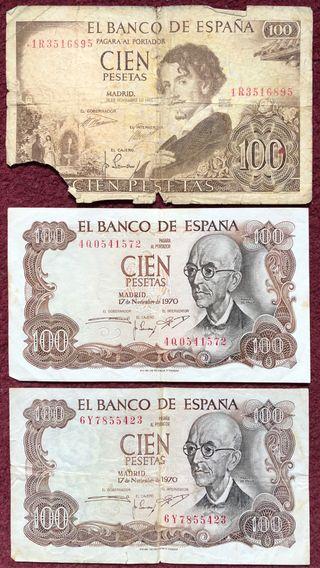 LOTE 3 BILLETES 100 PESETAS...