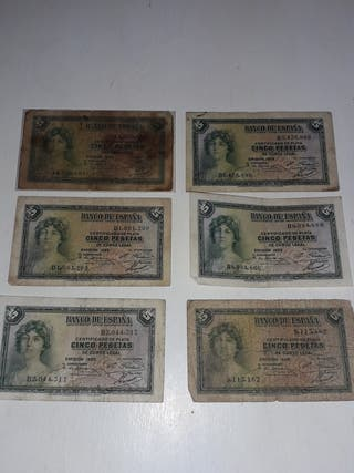 Billetes 5 pesetas República española