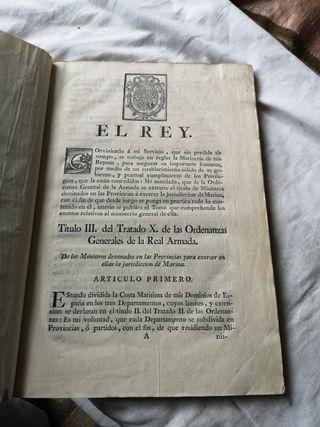 Libro Ordenanzas Generales de Real Armada año 1751
