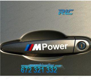 4 PEGATINAS M-POWER BLANCAS