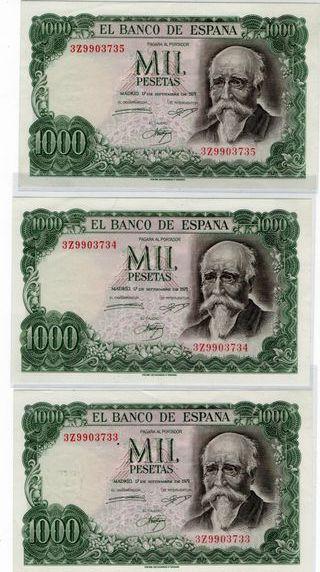 3 billetes de 1000 pesetas correlativos plancha