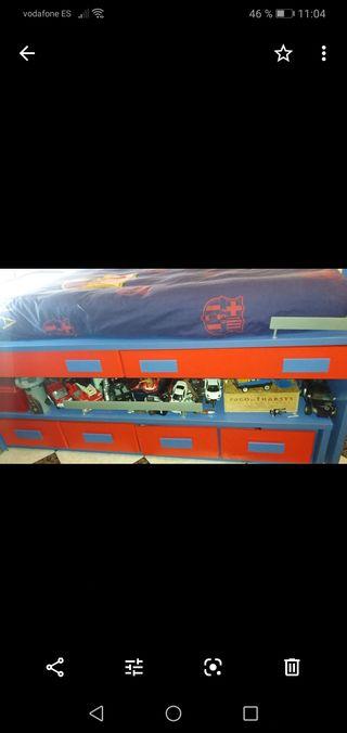 cama con escritorio incorporado y cajon grande
