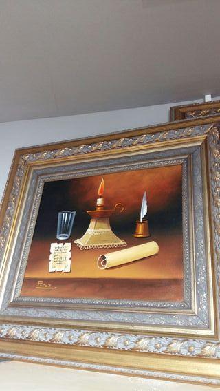 Cuadro Óleo con cuadro madera