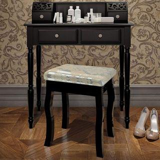 Bureau / coiffeuse Noir bois sculpté
