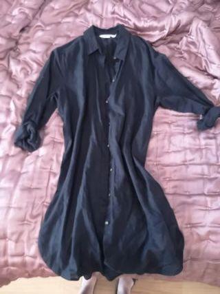 Camiseta-vestido negra mujer