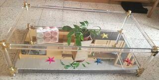 Mesa baja de salón de cristal y espejo