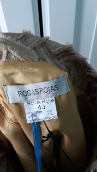 Falda Rosas Rojas piel/dorada