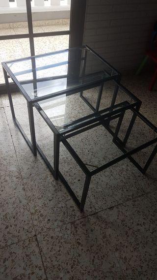 Mesas cristal y hierro negro