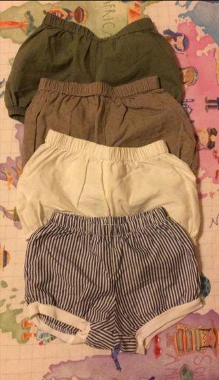 Lote pantalones cortos bebé niño niña talla 6/9m