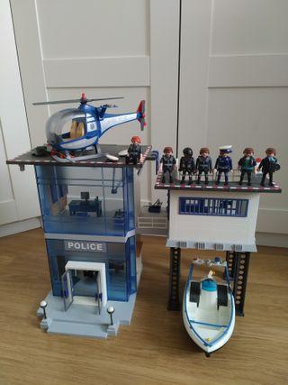 Comisaría Playmobil, lancha y helicóptero.