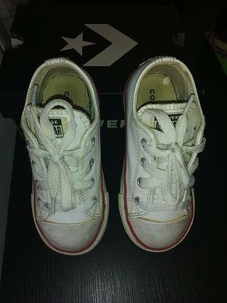 zapatillas piel niño converse 24 blancas