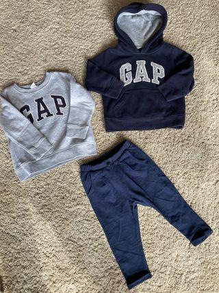 Dos sudaderas gap y pantalón Zara 2 años