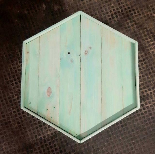 Mesa Hexagonal Turquesa Hecho a mano
