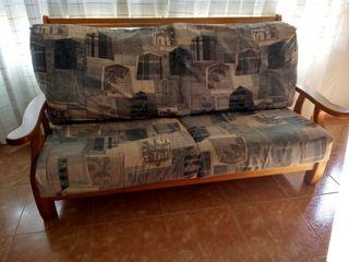 conjunto de sofá y 2 sillones de madera
