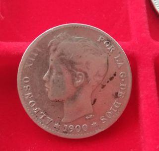 Moneda de 1 Peseta 1900, España ,plata