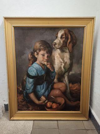 cuadro grande niña con perro