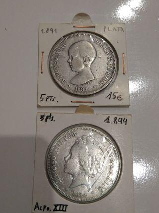 2 monedas 5 pesetas plata