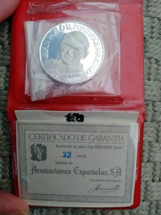 Moneda de plata Juan Pablo II y Sta. Teresa