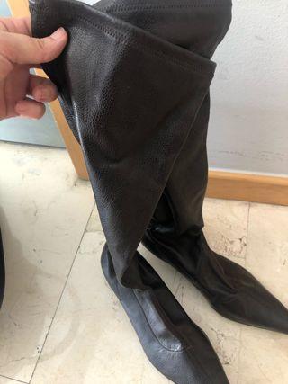 Botas elásticas de mujer T40 marrón oscuro