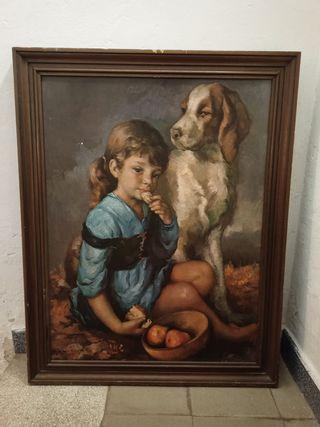 cuadro niña con perro