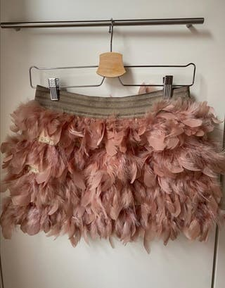falda plumas Rosa palo