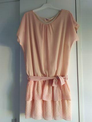 Vestido rosa de topos