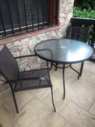 Conjunto mesa redonda jardín y 4 sillas Antracita