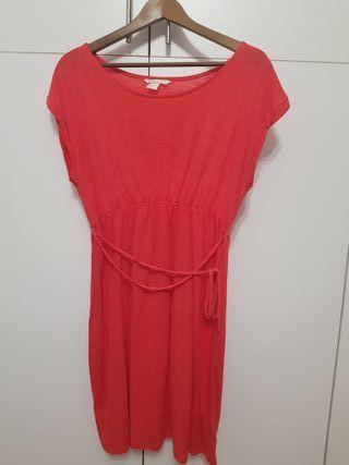 Vestido premama H&M Talla M en coral rojo