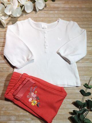 camiseta ZARA T3-6 meses blanca manga larga
