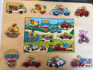 Puzzle infantil de vehículos y animales ecológico