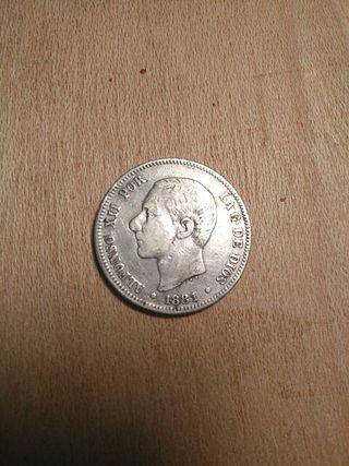 Moneda de 2 pesetas de plata.