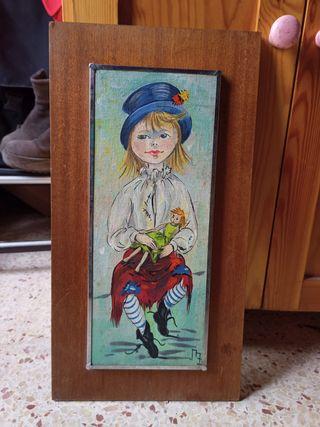 cuadro antiguo pintado a mano
