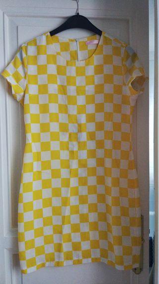 Vestido verano cuadraditos amarillo y blanco
