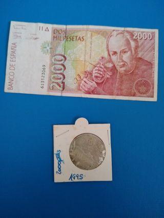 lote de 2000 pesetas ( billete y moneda Plata)
