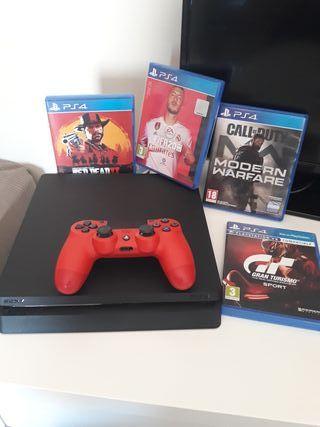 PlayStation 4 1TB con mando y 4 juegazos.