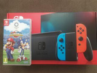 Consola Nintendo Switch Negra + Juego Mario/Sonic