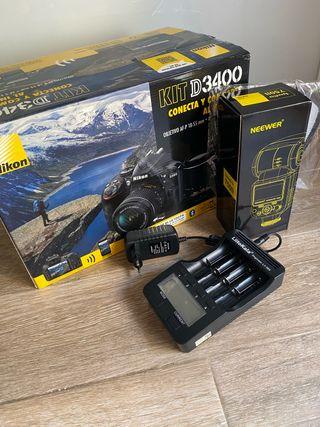 Nikon d3400 + flash + baterías + accesorios