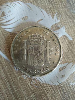 moneda de 5 pesetas de 1885