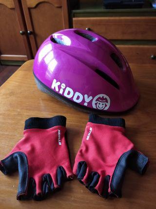 Lote de casco y guantes para bicicleta
