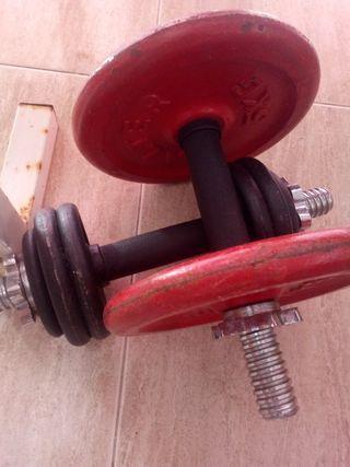 Banco de pesas+pesas+maquina de fleciones+banco ab