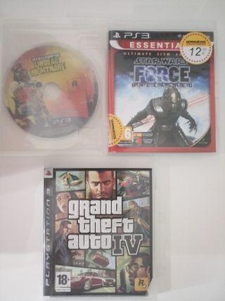 3 videojuegos de PlayStation 3 GTA 4 Red Dead Red