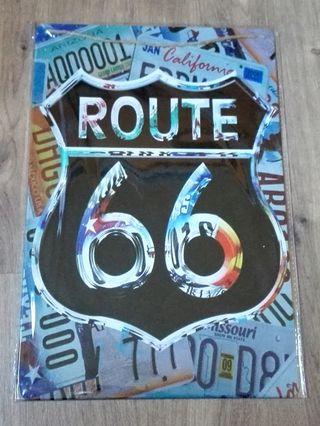 Cartel decoración Ruta 66. Efecto espejo.